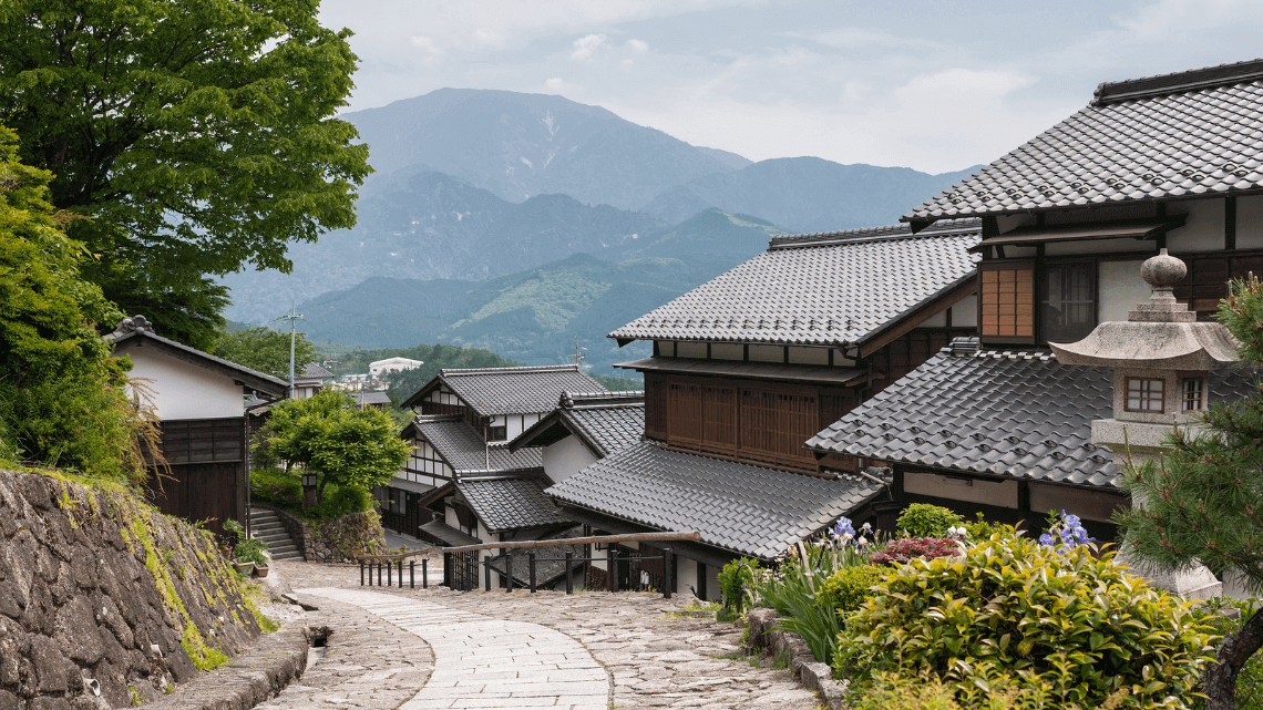 Magome village, a post town on the Nakasendo Way en route to Tsumago in the Kiso Valley, Japan