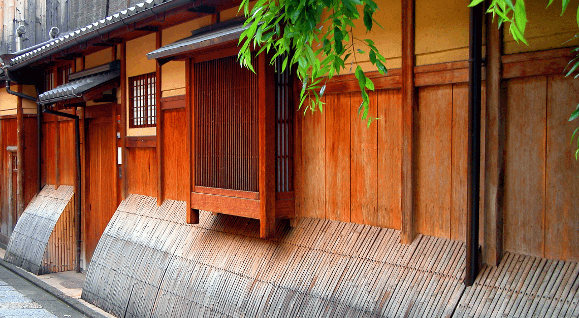 Traditional wooden home in Gion, Higashiyama district, Kyoto, Japan