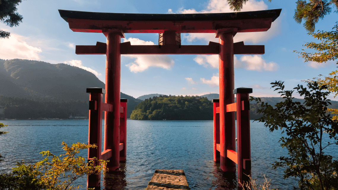 Hakone Jinja Shrine at Ashinoko (Lake Ashi) in Hakone National Park, Japan