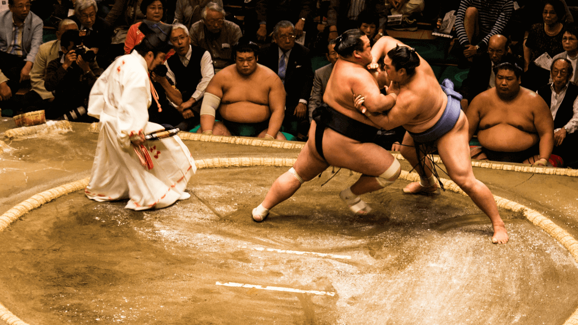 Sumo rikishi (wrestlers) during the Tokyo basho (tournament), Japan