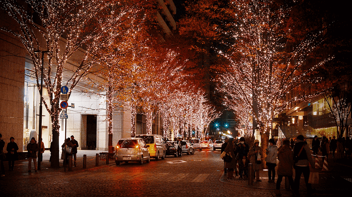 Winter illuminations light up the streets of Ginza, Tokyo's shopping district