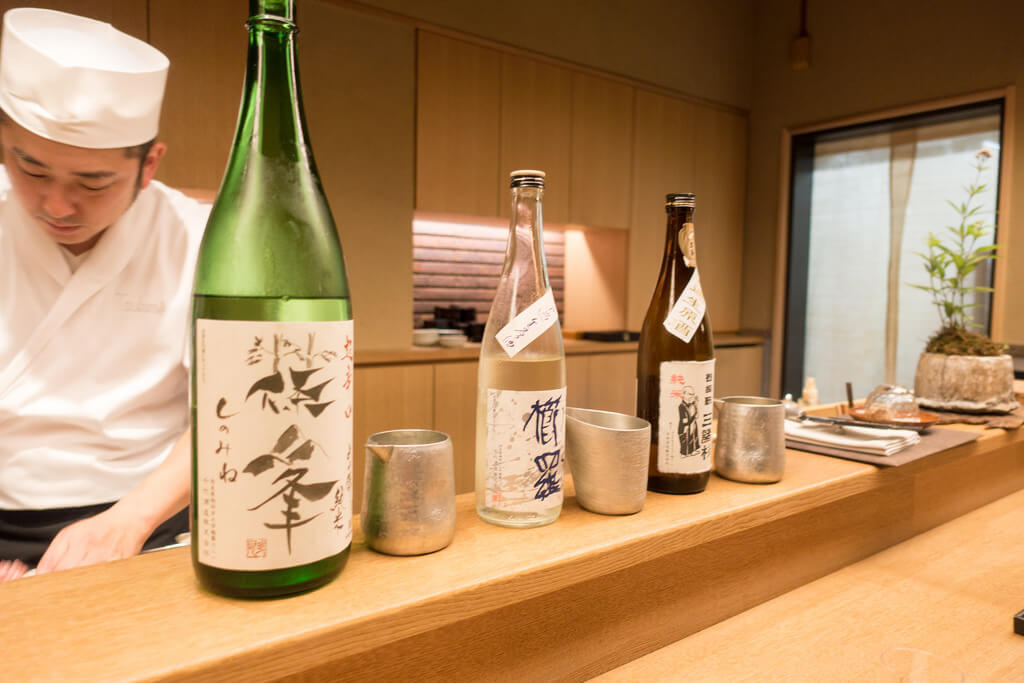 sake presentation at a Japanese restaurant