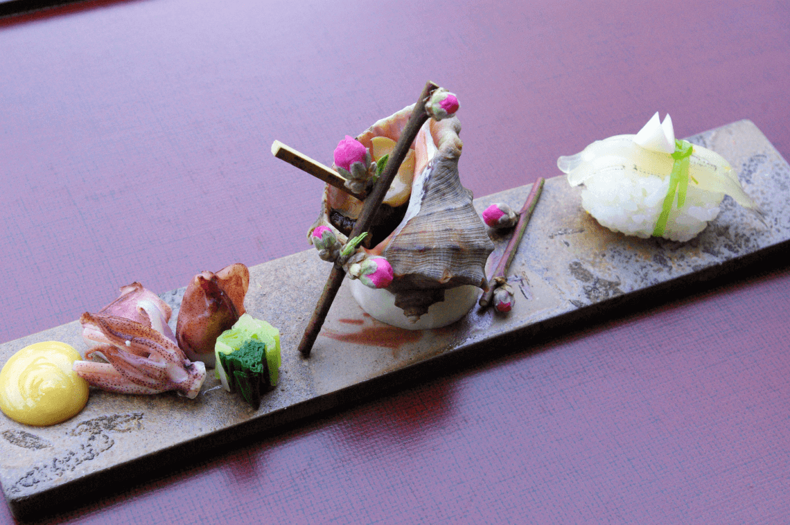 Traditional kaiseki cuisine is an elegant seasonal form of Japanese food