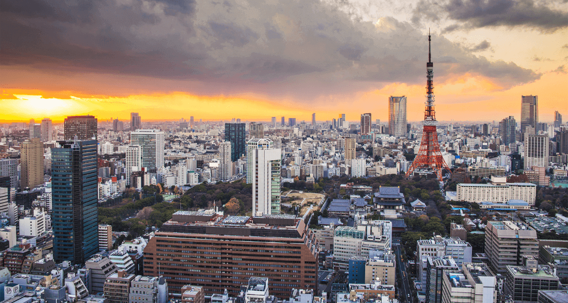 Skyline of Tokyo, Japan with Tokyo Tower