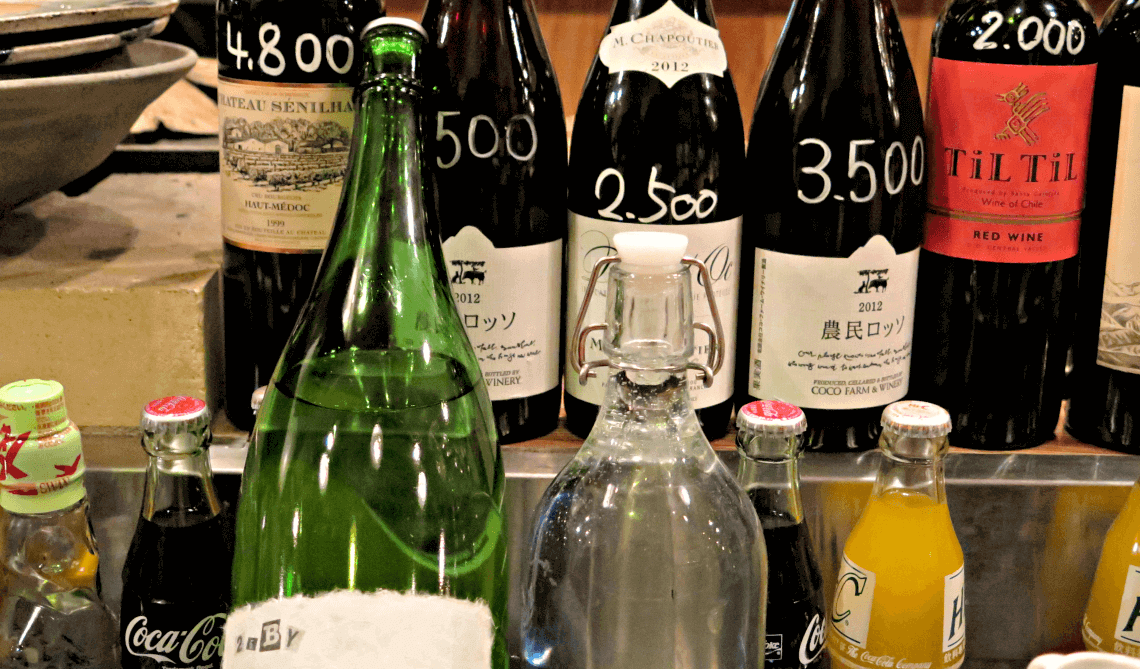 Shochu, sake and wine displayed at an izakaya in Hakata-ku, Fukuoka